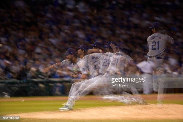 NLCS Playoffs Multiple exposure of Los Angeles Dodgers Yu Darvish in action pitching vs Chicago Cubs at Wrigley Field Game 3 Chicago IL CREDIT Jeff...