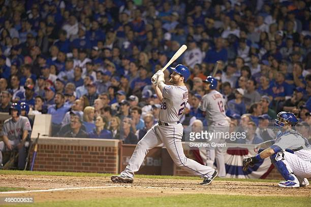 NLCS Playoffs New York Mets Daniel Murphy in action at bat hitting home run vs Chicago Cubs at Wrigley Field Game 4 Chicago IL CREDIT Stephen Green