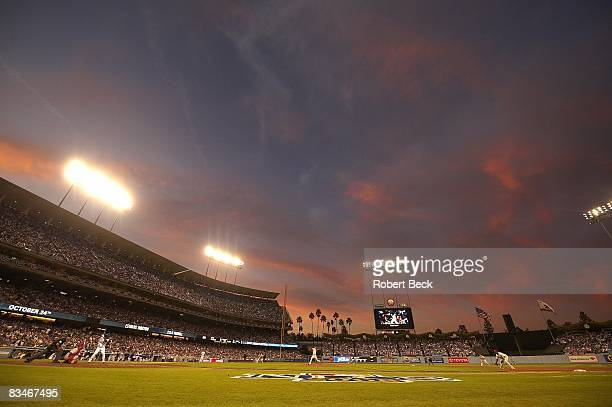 NLCS Playoffs Overall view of sunset at Dodger Stadium during Game 5 of Los Angeles Dodgers vs Philadelphia Phillies series Los Angeles CA CREDIT...