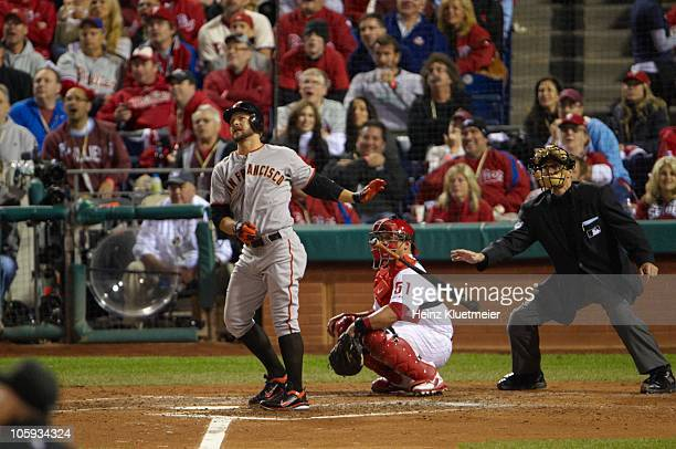 NLCS Playoffs San Francisco Giants Cody Ross in action at bat home run vs Philadelphia Phillies Game 2 Philadelphia PA CREDIT Heinz Kluetmeier