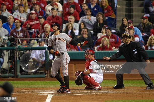 NLCS Playoffs San Francisco Giants Cody Ross in action hitting home run during 5th inning vs Philadelphia Phillies Game 2 Philadelphia PA CREDIT...