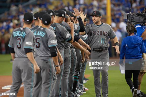 NLDS Playoffs Arizona Diamondbacks AJ Pollock with teammates during introductions before game vs Los Angeles Dodgers at Dodger Stadium Game 1 Los...