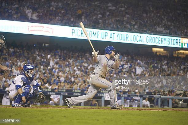 NLDS Playoffs New York Mets Daniel Murphy in action at bat hitting home run vs Los Angeles Dodgers at Dodger Stadium Game 5 Los Angeles CA CREDIT...