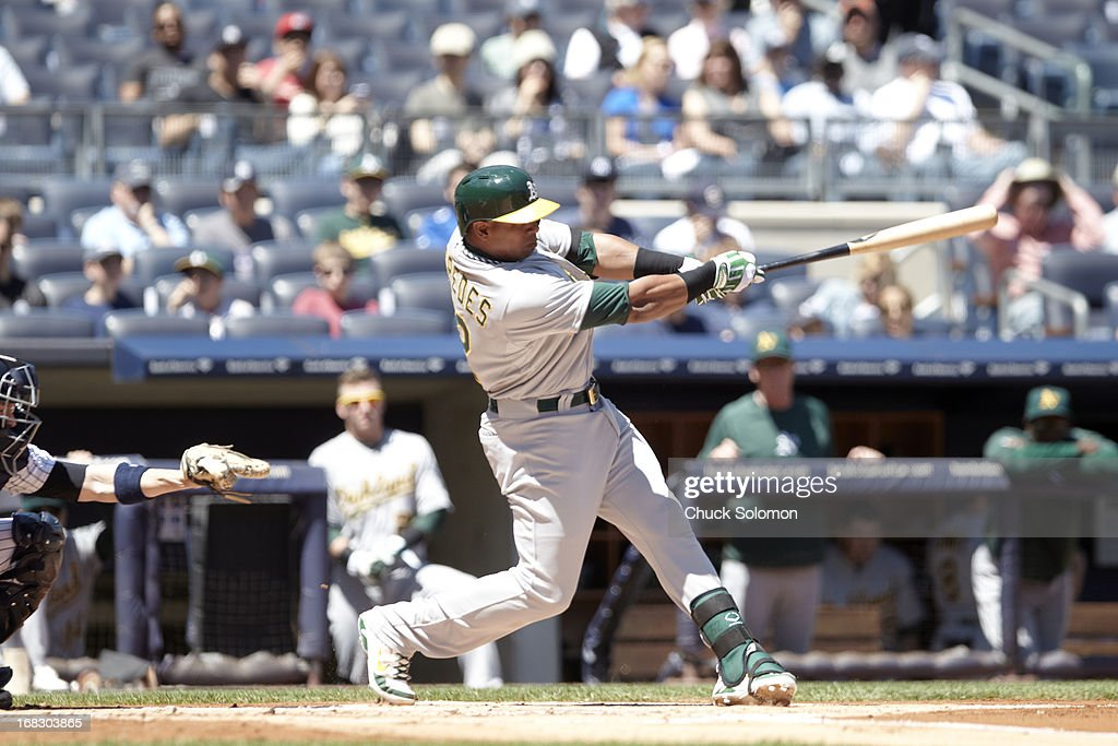 Oakland Athletics Yoenis Cespedes (52) in action, at bat vs New York Yankees at Yankee Stadium. Chuck Solomon F42 )