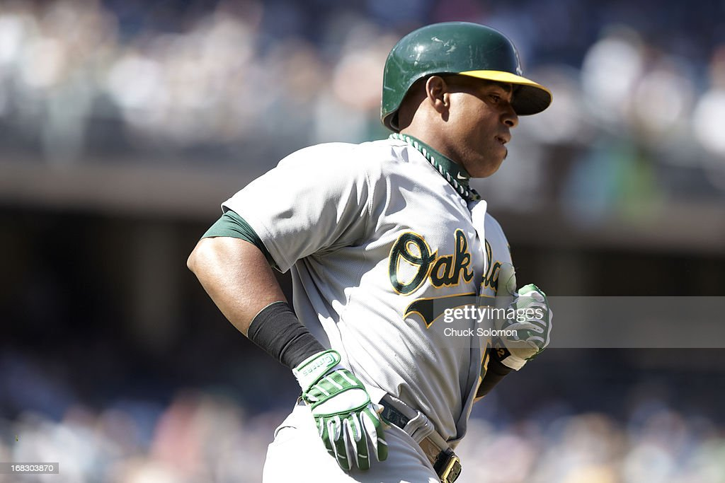 Oakland Athletics Yoenis Cespedes (52) in action, running bases vs New York Yankees at Yankee Stadium. Chuck Solomon F170 )