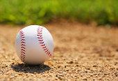 Baseball on Field. Closeup. Sport