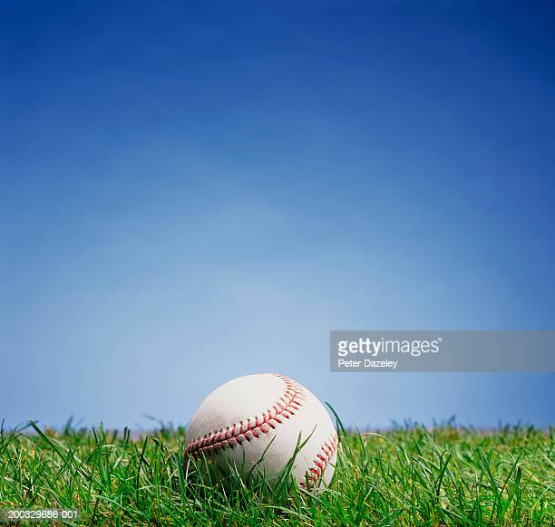 Baseball on grass, close up