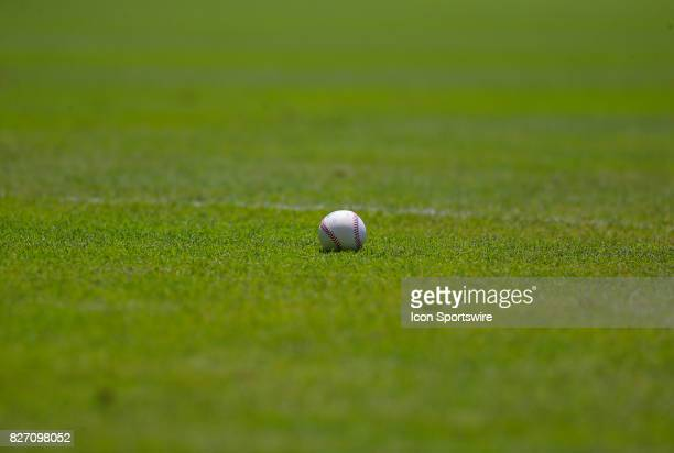A baseball on the field prior to the MLB game between the Atlanta Braves and the Miami Marlins on August 6 2017 at SunTrust Park in Atlanta GA The...