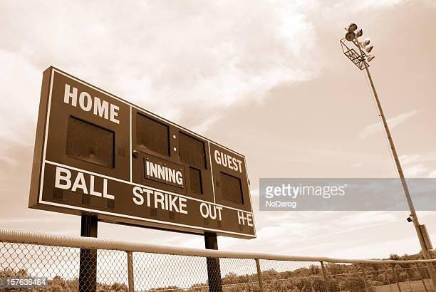 Baseball or softball scoreboard with night lights