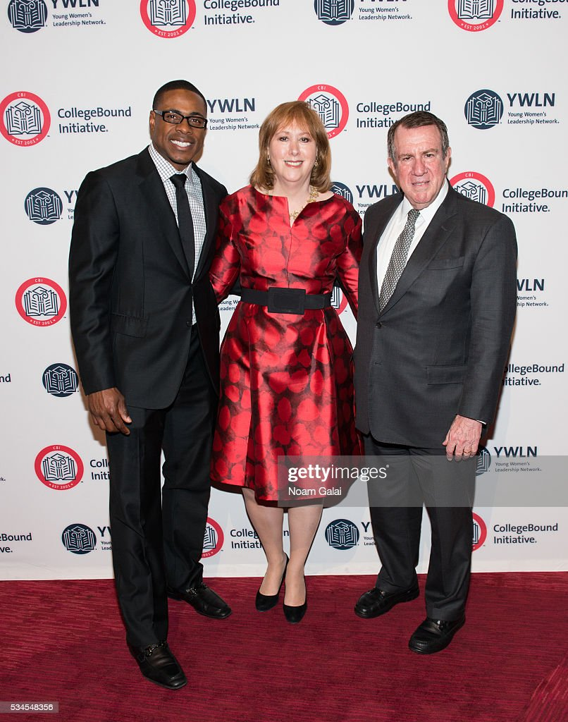 Baseball outfielder Curtis Granderson, Ann Tisch and Andrew Tisch attend the 2016 CollegeBound Initiative celebration at Jazz at Lincoln Center on May 26, 2016 in New York City.