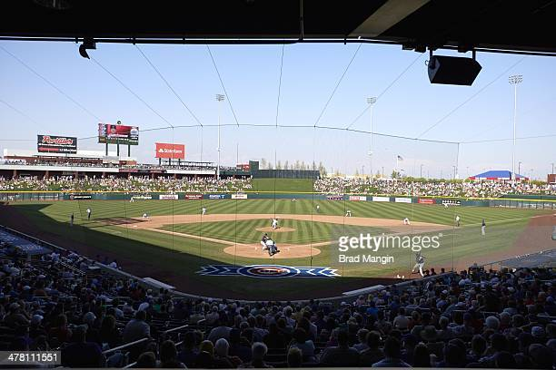 Overall scenic view of Cubs Park during Chicago Cubs vs Cleveland Indians spring training game at Cubs Park Mesa AZ CREDIT Brad Mangin
