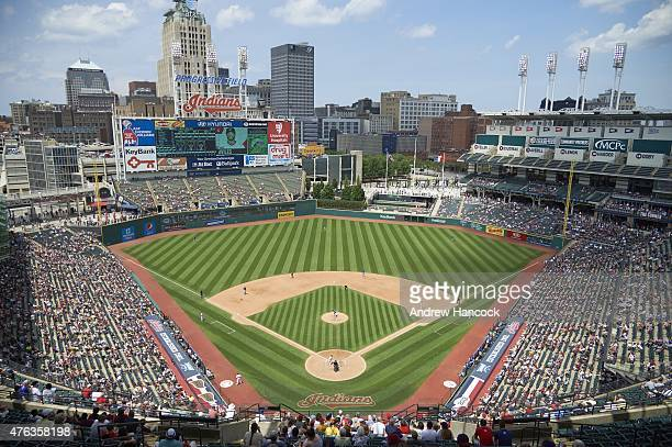 Overall scenic view of Progressive Field during Cleveland Indians vs Texas Rangers game Cleveland OH 5/27/2015 CREDIT Andrew Hancock