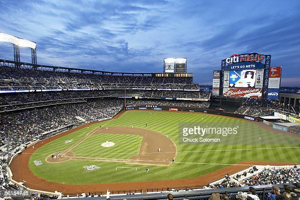 Overall view of Citi Field stadium during New York Mets vs San Diego Padres opening day game Inaugural regular season game at Citi Field Flushing NY...