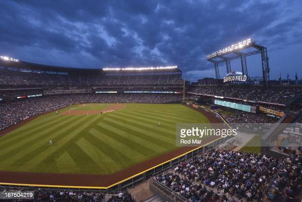 Overall view of field and stadium during Seattle Mariners home opener game vs Houston Astros at Safeco Field View of reconfigured outfield dimensions...