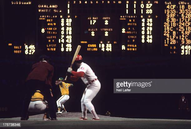 Overall view of Oakland Athletics Jim 'Catfish' Hunter in action pitching to Gene Tenace vs Chicago White Sox Carlos May at Comiskey Park View of...