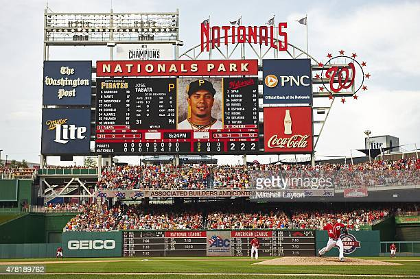 Overall view of Washington Nationals Max Scherzer in action delivering his 102nd pitch of game to Pittsburgh Pirates Jose Tabata during 9th inning at...
