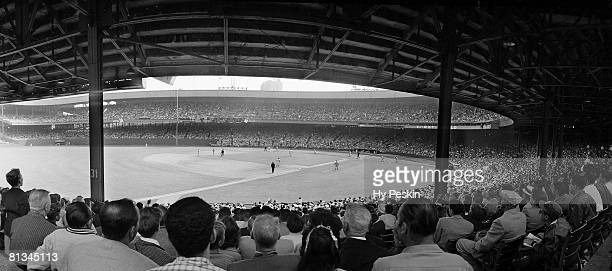 Baseball Panoramic view from stands of miscellaneous action at Polo Grounds stadium during New York Giants vs Brooklyn Dodgers game New York NY...