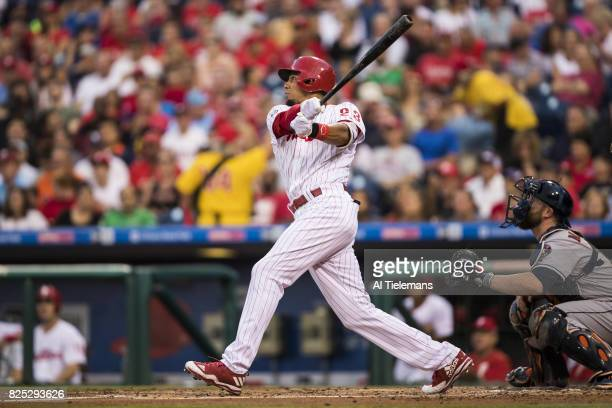 Philadelphia Phillies Aaron Altherr in action at bat vs Houston Astros at Citizens Bank Park Philadelphia PA CREDIT Al Tielemans