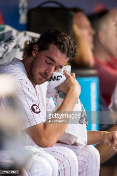 Philadelphia Phillies Aaron Nola in action on bench vs Houston Astros at Citizens Bank Park Philadelphia PA CREDIT Al Tielemans