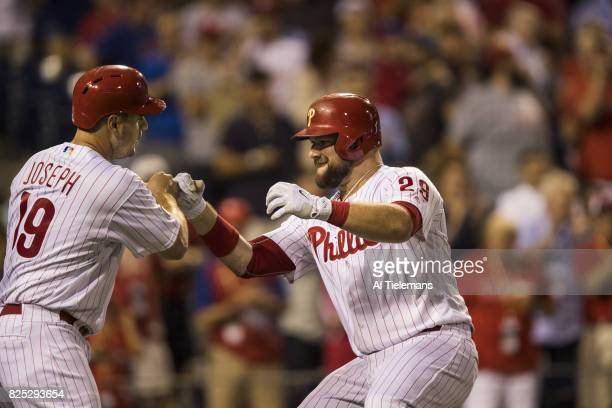Philadelphia Phillies Cameron Rupp and Tommy Joseph victorious vs Houston Astros at Citizens Bank Park Philadelphia PA CREDIT Al Tielemans