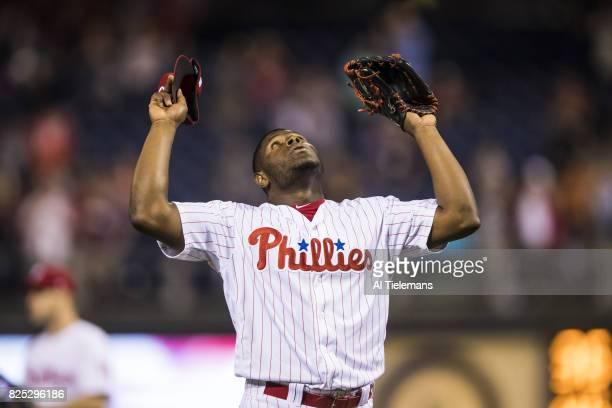 Philadelphia Phillies Hector Neris victorious during game vs Houston Astros at Citizens Bank Park Philadelphia PA CREDIT Al Tielemans