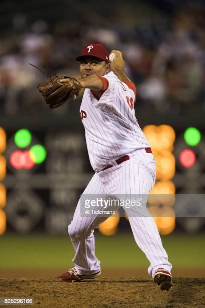 Philadelphia Phillies Joaquin Benoit in action pitching vs Houston Astros at Citizens Bank Park Philadelphia PA CREDIT Al Tielemans