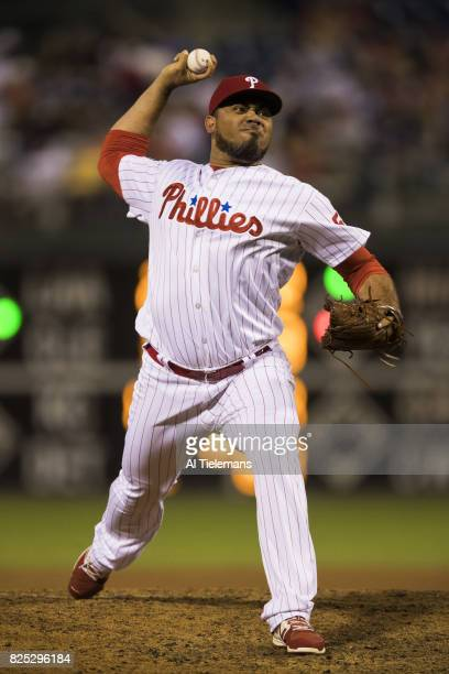 Philadelphia Phillies Joaquin Benoit in action pitching vs Houston Astros at Citizens Bank Park Philadelphia PA CREDIT Al Tielemans
