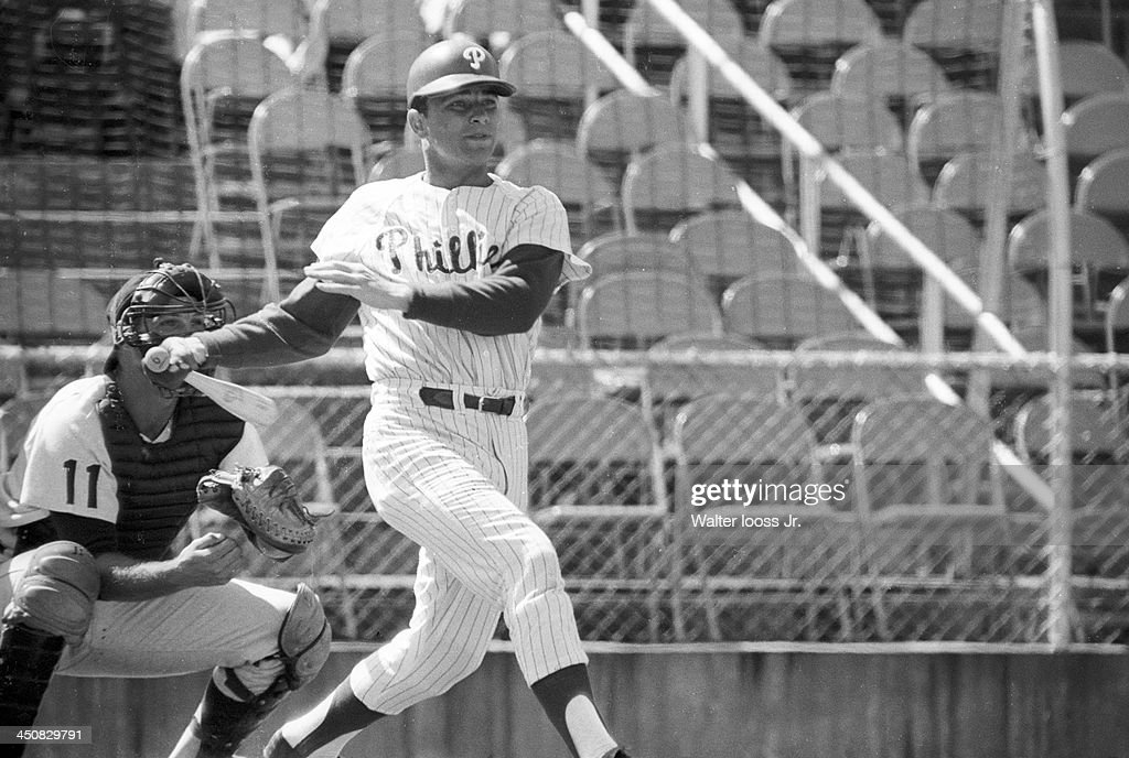 Philadelphia Phillies Johnny Callison in action at bat vs Detroit Tigers during spring training game at Jack Russell Memorial Stadium Clearwater FL...