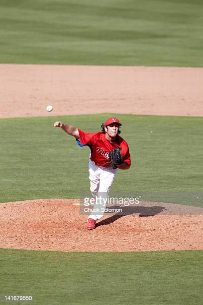 Philadelphia Phillies Michael Stutes in action pitching during spring training game vs New York Yankees at Bright House Networks Field Clearwater FL...