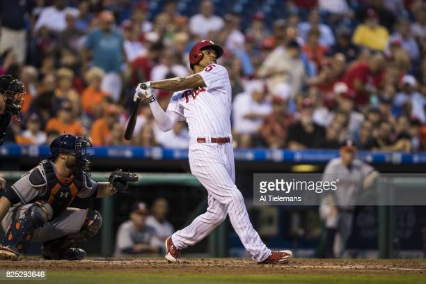Philadelphia Phillies Nick Williams in action at bat vs Houston Astros at Citizens Bank Park Philadelphia PA CREDIT Al Tielemans