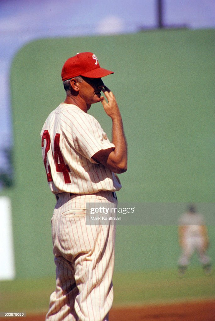 Phillies Manager manager Mayo Smith gesturing and giving signs to the batter and the team during spring training game at Jack Russell Memorial...