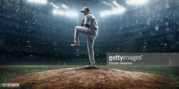 Baseball pitcher in action