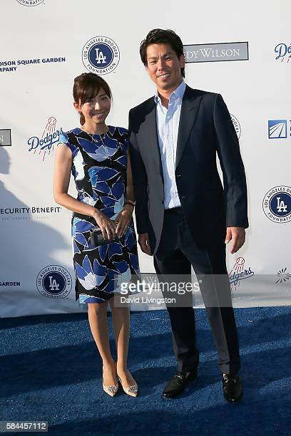 Baseball pitcher Kenta Maeda and his wife Saho Narushima arrive at the Los Angeles Dodgers Foundation Blue Diamond Gala at the Dodger Stadium on July...
