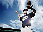 Baseball pitcher preparing to throw ball