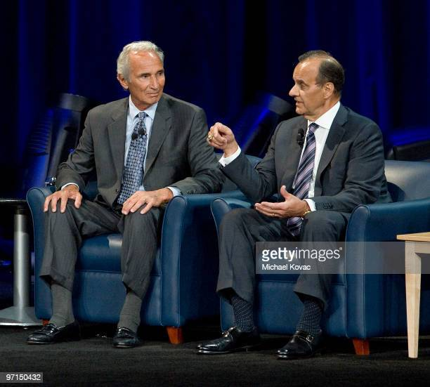 Baseball pitching legend Sandy Koufax and LA Dodgers Manager Joe Torre appear at 'Koufax and Torre Safe At Home' to help raise money for the Safe At...