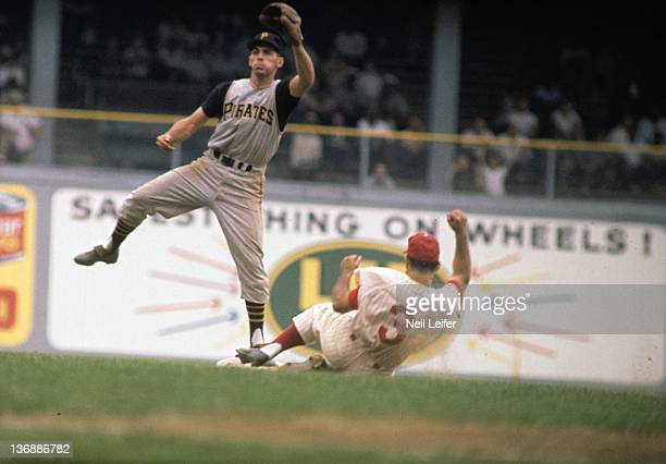 Baseball Pittsburgh Pirates Dick Groat in action making 2nd base tag out vs Philadelphia Phillies Bobby Del Greco at Connie Mack Stadium Philadelphia...