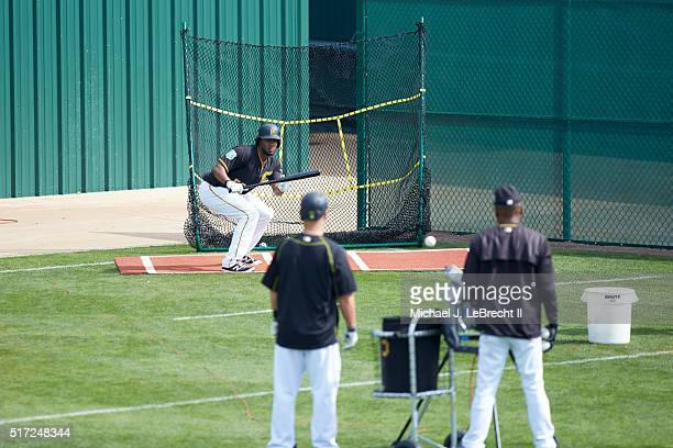 Pittsburgh Pirates Josh Bell bunting during drills before spring training game vs Toronto Blue Jays at McKechnie Field Bradenton FL CREDIT Michael J...