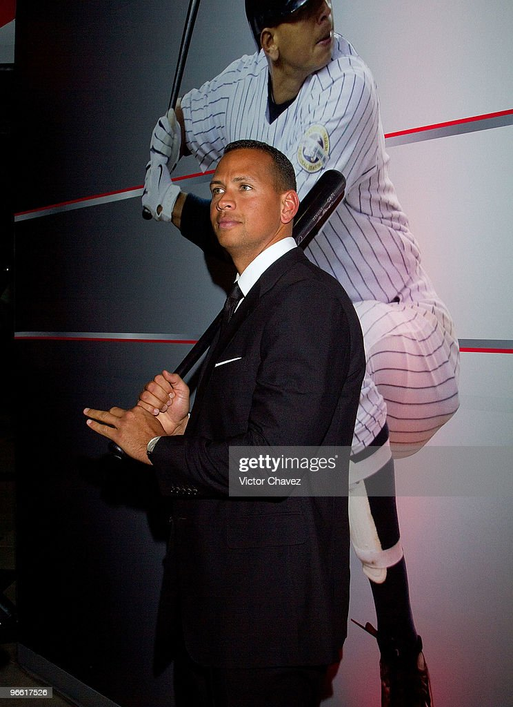 Baseball player Alex Rodriguez of the New York Yankees attends the Energy Fitness Club launch press conference at Reforma 222 on February 11, 2010 in Mexico City, Mexico.