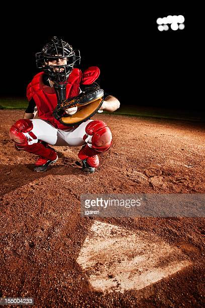 Baseball Player (catcher) at home plate