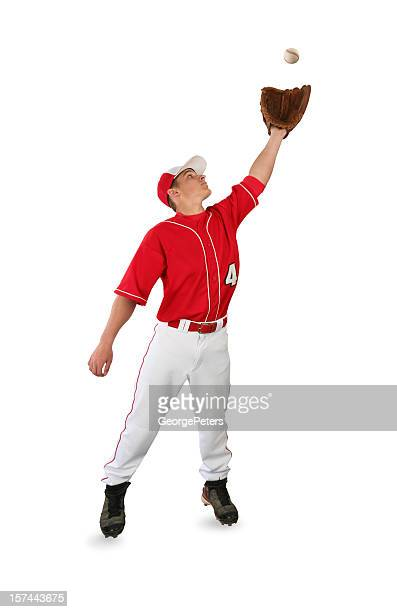 Baseball Player Catching Ball with Clipping Path