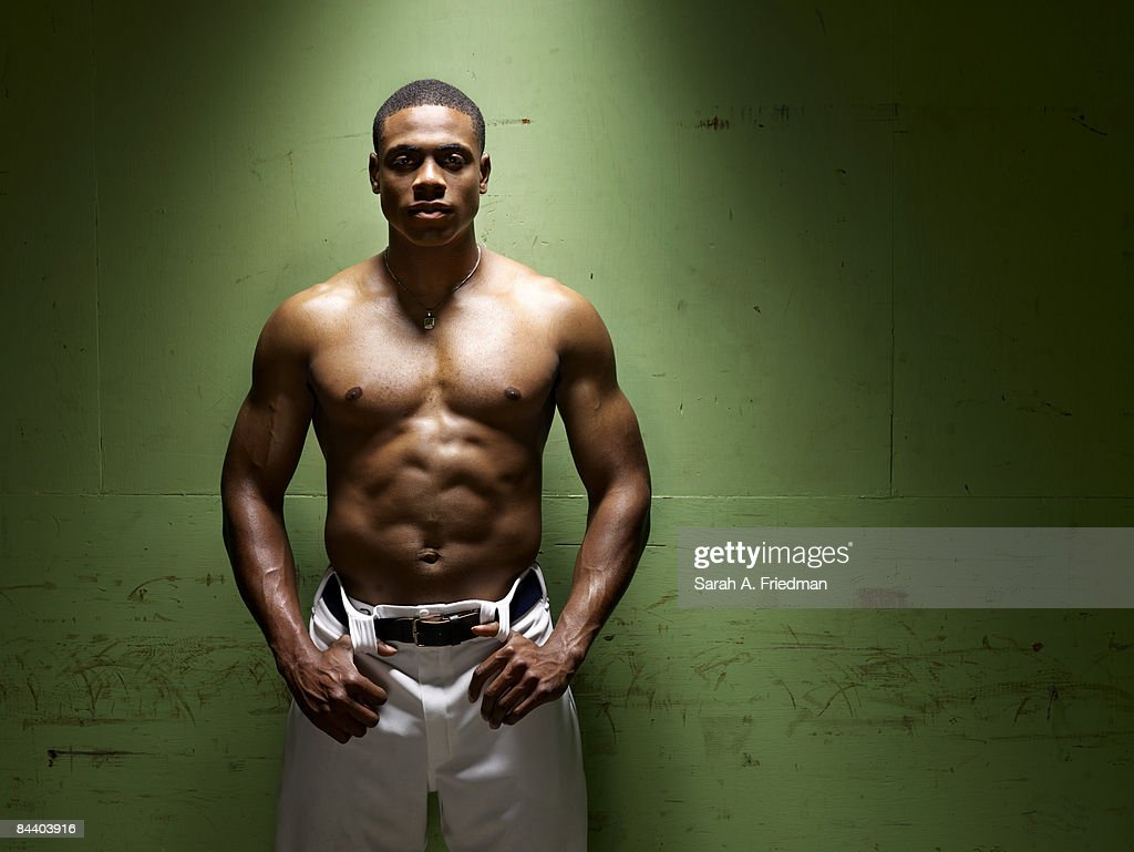 Baseball player Curtis Granderson poses at a portrait session for Men's Health Magazine.
