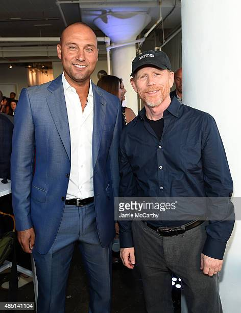 Baseball player Derek Jeter and and founding publisher of The Players' Tribune and director Ron Howard attend the Player's Tribune party to celebrate...