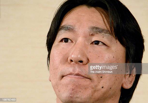 Baseball player Hideki Matsui speaks during a press conference on his retirement on December 27 2012 in New York City