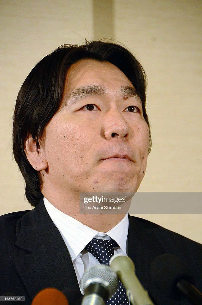 Baseball player Hideki Matsui speaks during a press conference on his retirement on December 27, 2012 in New York City.