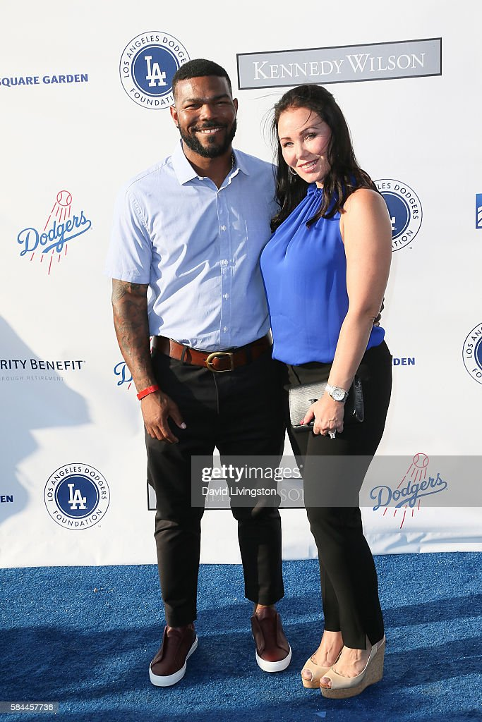 Baseball player Howie Kendrick and Jody Kendrick arrive at the Los Angeles Dodgers Foundation Blue Diamond Gala at the Dodger Stadium on July 28, 2016 in Los Angeles, California.