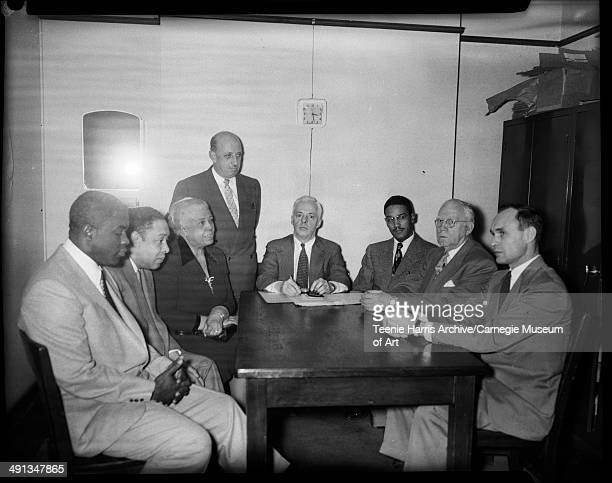 Baseball player Jackie Robinson Gaines T Bradford Daisy Lampkin Francis C Shane Russell L Bradley Reverend Charles S Spivey Louis C Stuckrath and...