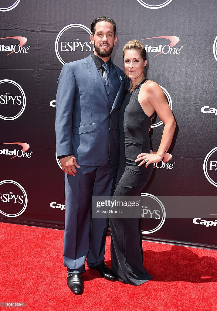 Baseball player James Shields (L) and photographer Ryane Barber attend The 2015 ESPYS at Microsoft Theater on July 15, 2015 in Los Angeles, California.