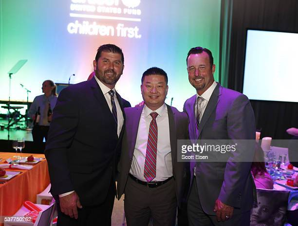 Baseball player Jason Varitek Superintendent of Public Schools Dr Tommy Chang and Tim Wakefield at the UNICEF Children's Champion Award Dinner...