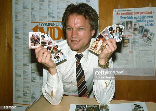Baseball player Jim Bouton is photographed promoting his personalized bubble gum baseball cards November 17 1982 in New Jersey