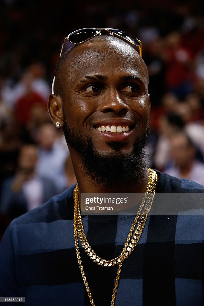 Baseball player Jose Reyes of the Toronto Blue Jays atttends the NBA game between the Miami Heat and Atlanta Hawks at American Airlines Arena on March 12, 2013 in Miami, Florida.
